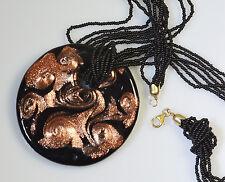 Belk & Co 6 Strand Black Bead Black Rose Gold Pendant Sterling Silver Necklace