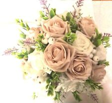 Wedding Med Posy Bouquet White Lavender & Mocha Pink & White Roses With  Berries