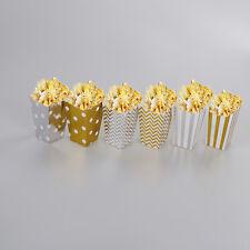 12x brillant métallique or et argent Popcorn boîte de fête de mariage fourniture