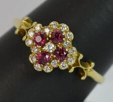 Beautiful Ruby & Diamond 18ct Gold Cluster Ring d0821