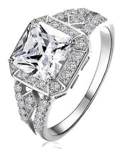 Platinum Plated AAA CZ Zirconia Square Cushion Halo Engagement Ring Romantic