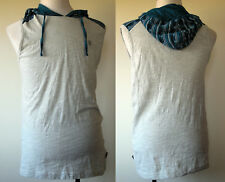 Lions Crest by English Laundry Gray w/Blue Aztec Print Sleeveless Hoodie Shirt L