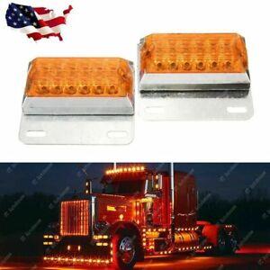 2x Amber 12-LED Side Marker Light 12V 24V Commercial Vehicle Trailer Off-Road