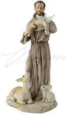 St. Francis of Assisi Color Statue Sculpture Figurine **WELL MADE*