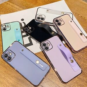 For iPhone 12 Pro Max 11 XS XR X 8 7 Plating Soft Skin Case Cover With Wristband