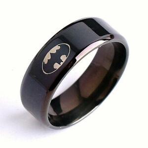 Fashion Titanium Boys Men Black Batman Symbol 316L Stainless Steel Polished Ring