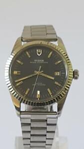 Tudor (Rolex) Prince Oysterdate 25J Auto Watch Jumbo Steel 38mm Case Blue Dial