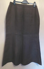Hobbs UK12 EU40 dark brown 100% linen skirt with flared hemline