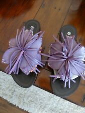 TOD'S Purple Leather thong slides 36