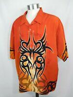 No Boundaries Tribal Graphics Short Sleeve Button Lounge Shirt Mens Size 2XL