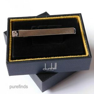 DUNHILL LOGO SILVER TONE RIDGED TIE CLIP, RRP £160, New in Dunhill Box