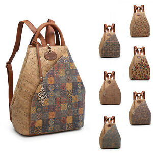 Boutique Wooden Texture Backpack Back Bag Women Girl Synthetic Cork S-Medium UK