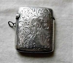 Antique G Loveridge Sterling Silver Etched Match Safe Vesta Pendant Hallmarked