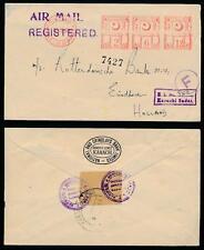 PAKISTAN REGISTERED METER FRANKING AIRMAIL to HOLLAND BOXED KARACHI SADAR 1960