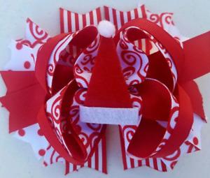 "Elf On A Shelf Elf Hat Christmas Red White Stripes Dots Elf Felt Hat Hair Bow 5"""