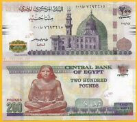 Egypt 200 Pounds p-77 2018 (Date 4.12.2018) UNC Banknote