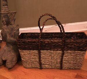 Pottery Barn Wicker Rope Wire Wooden Market Basket Rectangular NEW Rare!