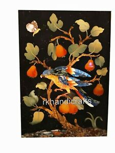 12 x 18 Inches Marble Coffee Table Top Inlay Corner Table with Royal Bird Design