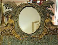 "Maitland Smith Neoclassical 31"" Beveled Vanity Mirror, Bronzed Spelter, VTG1980s"