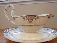 Wedgwood Saxon creamware gravy boat with attached underplate A4456 ca. 1920's