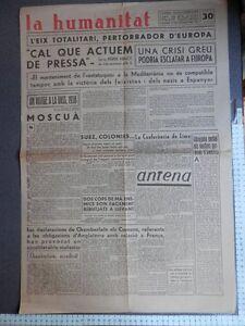 PERIÓDICO REPUBLICANO LA HUMANITAT 14 DICIEMBRE 1938