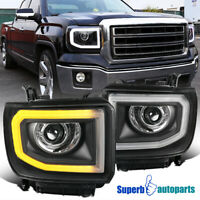For 2014-2018 Sierra 1500 2500HD 3500HD LED Strip Projector Headlights Black