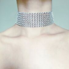 SILVER Thick FAUX Crystal Rhinestone Choker Wide NEW TREND Velvet Ribbon