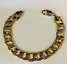 "10kt Solid Yellow Gold Handmade Curb Link Mens Bracelet 10"" 50 Grams 14MM"