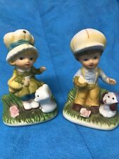 Homco #1430 Boy With A Dog & Girl With A Cat Figurine Set