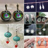 Retro 925 Silver Turquoise Ear Hook Dangle Drop Flower Earring Women Jewellery