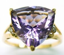 SYJEWELLERY 9CT YELLOW GOLD 10MM TRILLION CUT AMETHYST & DIAMOND RING    R1036