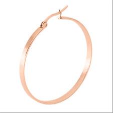 20-60mm Stainless Steel Flat Round Ring Hook Earrings Dangles Hoop Women 1Pair