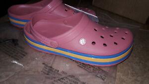 NEW Womens Crocs Crocband Hyper Shine Clog Shoes, size 10