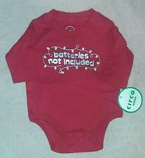 """NEW Circo Newborn Baby Bodysuit """"Batteries Not Included""""~Christmas-Red-Boy/Girl"""