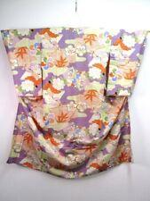 C3-4844a530 Silk Vintage Japanese Kimono Juban Pale Purple Vermillion