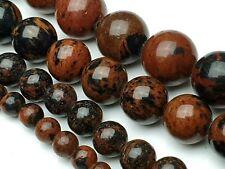Obsidian Mahagoni braun Edelstein Perlen rund Kugel 4 / 6 / 8 / 10 mm
