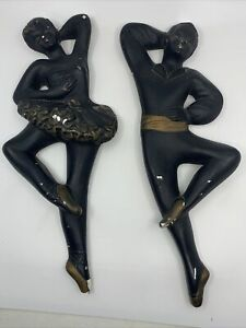 MId Century Chalkware Ballerina Pair Wall Plaques Hangings Male & Female Dancers