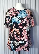 New Size 20 Ladies Top Pink Blue Multi Floral Short Sleeve Anthology
