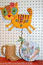 Michelle Allen Designs Whimsical Cat Clock Kimi Kitty  ship PRIORITY MAIL 24 Hrs