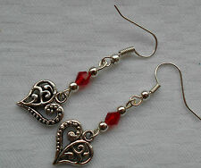 Lovely tibetan silver handmade earrings engraved hearts with red crystals