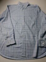 Brooks Brothers Country Club Mens Shirt Size L Blue Check Long Sleeve Button Up