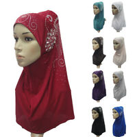 One Piece Amira Hijab Rhinestone Scarf Muslim Prayer Headscarf Women Islam Wrap