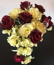 Brautstrauss Hochzeitsstrauß creme gelb / dunkelrot Blumenstrauß Hochzeit
