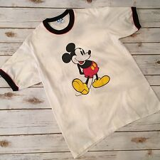 Vintage 80s Disney Ringer T Shirt Mickey Mouse Classic White Sz XL USA Made