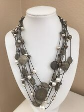 Chico's Faux Pearl & Stone Multi Strand Beaded Statement Necklace