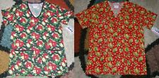 2 pc Christmas V neck Scrub Top Bottom Pockets Poinsettia & Patch Leaves Xs to L