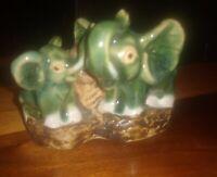 "Vintage Ceramic Figurine Elephants Tree Mini Planter Grn Magellica?  2.5""H 3.5""L"