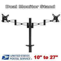 """Dual Monitor Arms Fully Adjustable Desk Mount Stand fits For 2 Screens up to 27"""""""