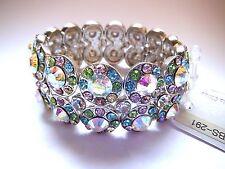 Ab Crystals Bracelet Silver Ballroom Latin Dance Competition Smooth Rythm Prom