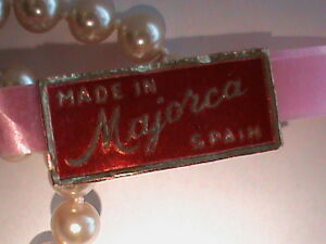 THREE 29 Inch Long 6 MM Pink Tag Majorca Pearl Necklace 14kt G.F. Clasp NOS